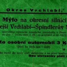 Doklad o zaplacení mýtného, 1932, inv. č. 20.154