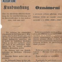 Oznámení o písemném jednání, 1891, inv. č. 20.183