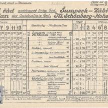 Jízdní řád autobusové linky ČSD, 1932, inv. č. 20.192