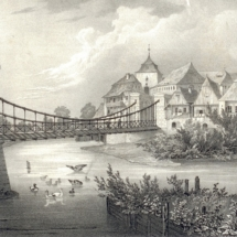 Řetězový most u Jaroměře, litografie, 1845, inv. č. 20.392