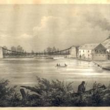 Řetězový most u Poděbrad, litografie, 1845, inv. č. 20.396