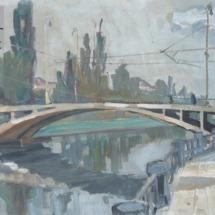 Most, olej na lepence, 70.-80. léta 20. století, inv. č. 20.410