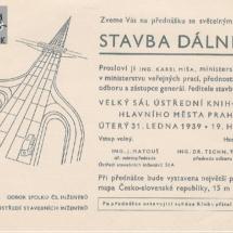Pozvánka na přednášku, 1939, inv. č. 20.419