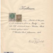 Kvitance cestářská, 1896, inv. č. 20.447