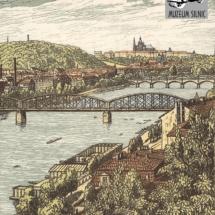 Pražské mosty, grafický list, 1951, inv. č. 20.686