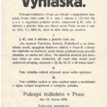 Vyhláška - chůze po mostech, 1936, inv. č. 20.884