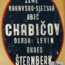 Místní tabule obec Chabičov, 1. polovina 20. století, inv. č. 40.13