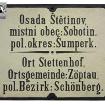 Místní tabule Štětinov - Sobotín, 1. třetina 20. století, inv. č. 70.23