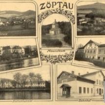 Sobotín - zámek, železárny, nádraží, mauzoleum, pohlednice, přelom 19. a 20. století, inv. č. 70.3