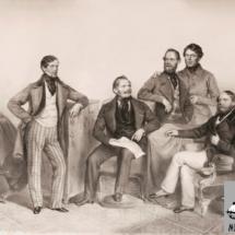 Bratři Kleinové a Franz Klein ml., litografie, 1849, inv. č. 70.53